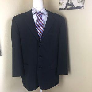 Paul Dione navy blue striped blazer 42R